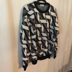 🆕 Sweater Men's Geometric Print Black White Gray